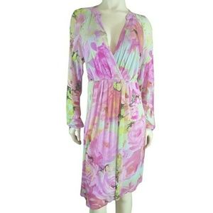 BCBG Maxazria Dress Faux Wrap Floral Secret Garden